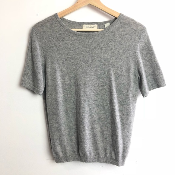 96e775b4ea Lord   Taylor Tops - Lord   Taylor• Grey Cashmere short sleeve top